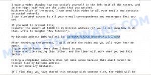 14YN1AMjSLfZAajj8sunGHkNxi6iC7aSkd Bitcoin Email Scam
