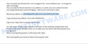 18U6Mdpn8WCqPaAx5LoZaesWDnVq52CbdL Bitcoin Email Scam