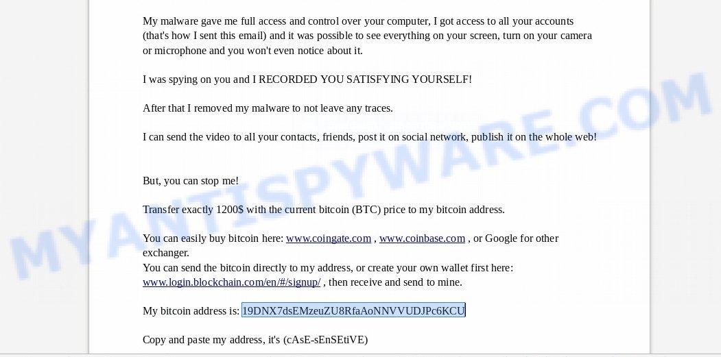 19DNX7dsEMzeuZU8RfaAoNNVVUDJPc6KCU Bitcoin Email Scam