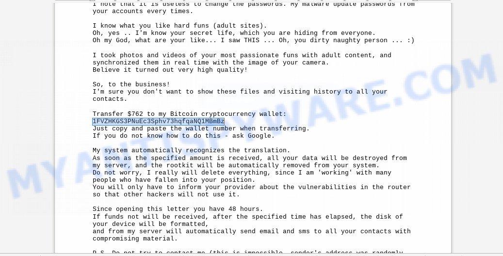 1FVZHKGS3PNuEc3Sphv73hqfqaNQ1MBmBz Bitcoin Email Scam