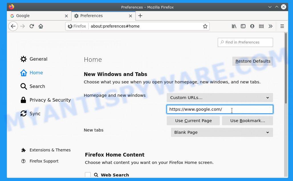 Firefox homepage