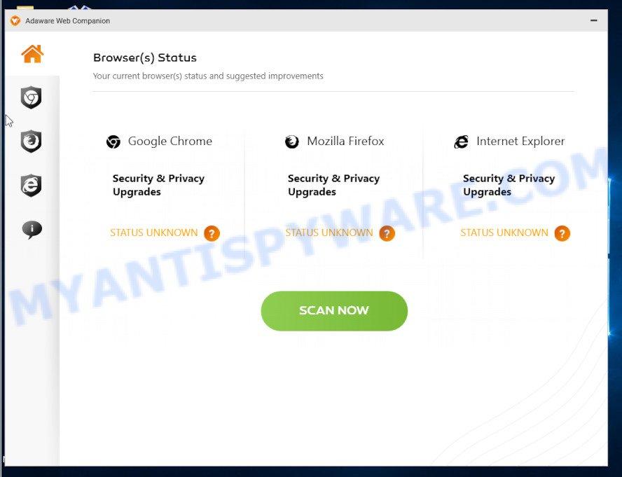 Adaware Web Companion - main screen