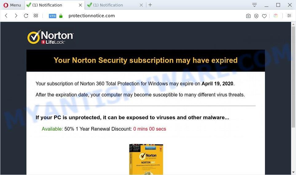 Protectionnotice.com popup