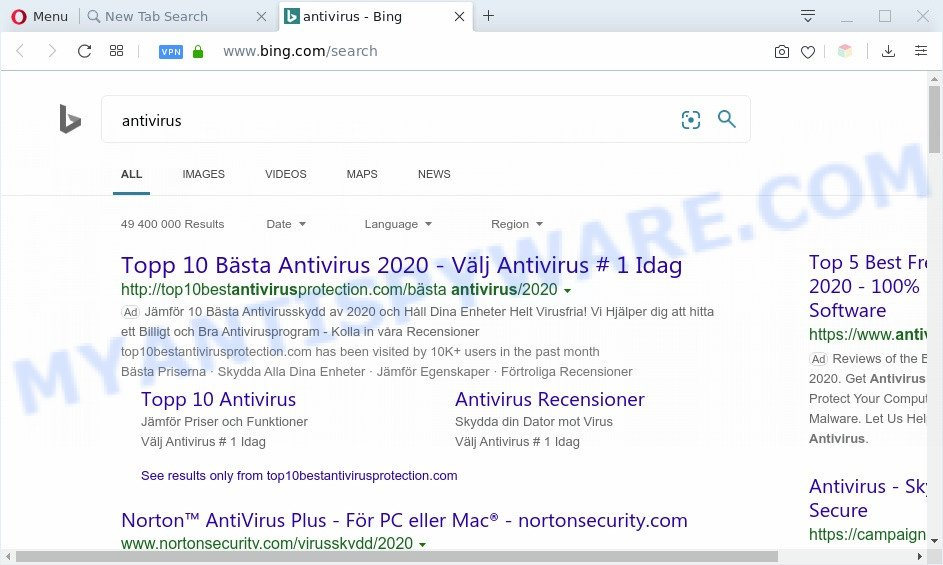 Shipment Trackers redirects to Bing