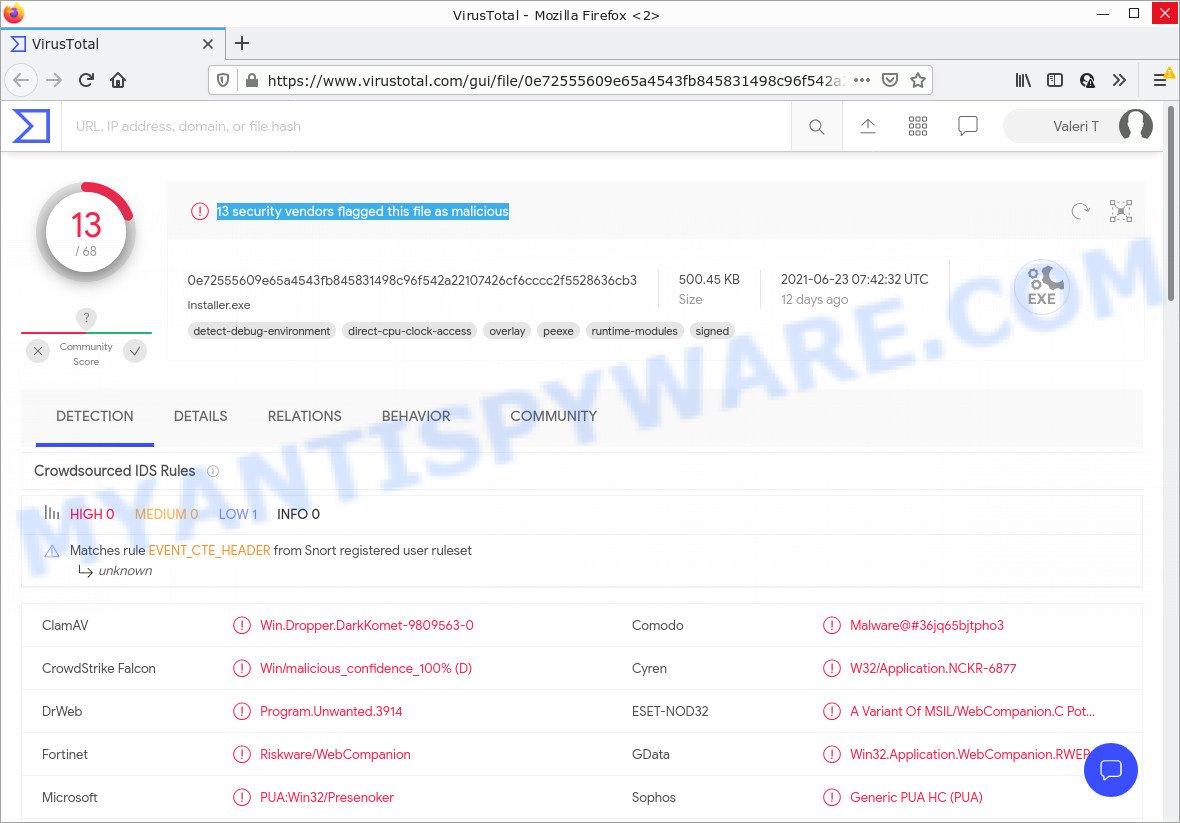 Web Companion installer - VirusTotal scan results