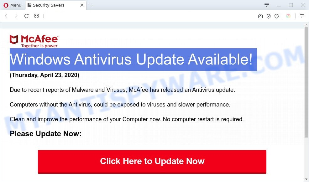 Windows Antivirus Update Available