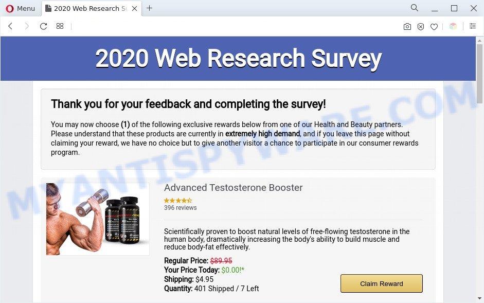 2020 Visitor Feedback Survey scam end page