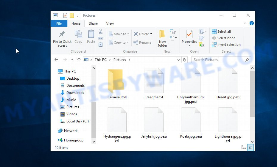 Files encrypted with .Pezi extension