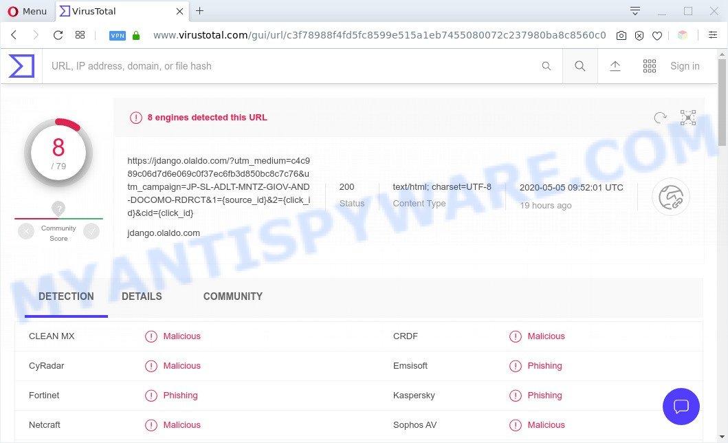 Olaldo.com - VirusTotal Scan results