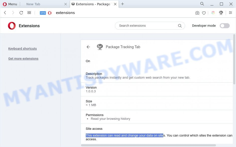 Package Tracking Tab can read