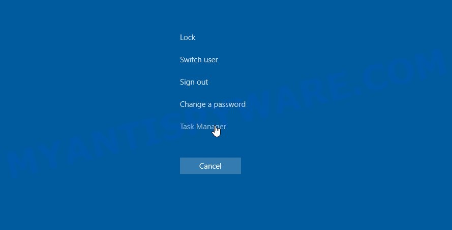 Pezi ransomware - task manager
