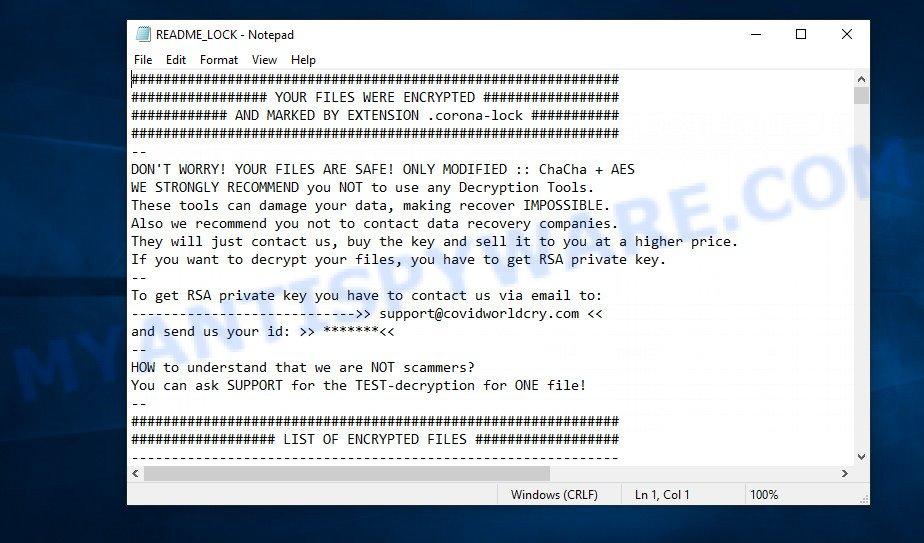 corona-lock ransomnote