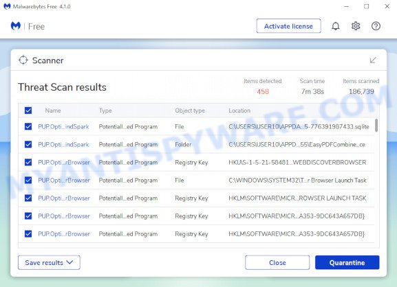 MalwareBytes Free for MS Windows, scan for browser hijacker is done