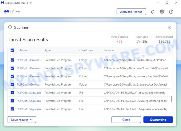 MalwareBytes AntiMalware (MBAM) for Microsoft Windows, scan for adware is complete