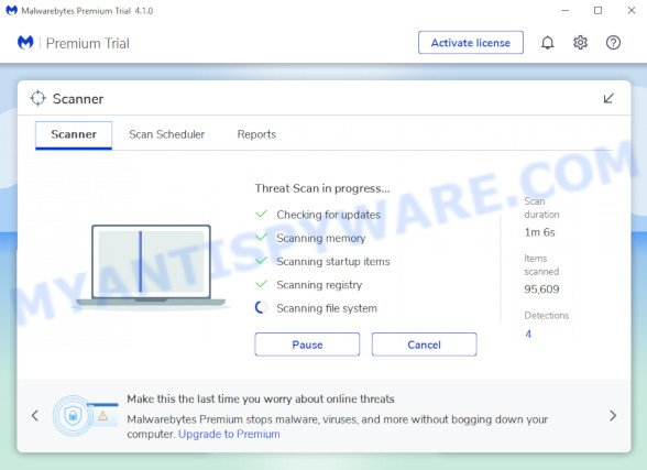 MalwareBytes Free for MS Windows search for 4KSportSearch browser hijacker infection