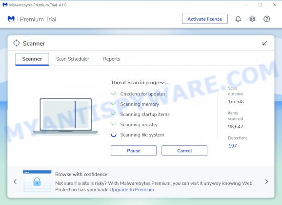 MalwareBytes Free for Microsoft Windows find adware that causes Gatevideo.xyz pop up advertisements