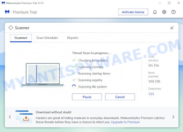 MalwareBytes Anti Malware (MBAM) for Microsoft Windows scan for ClickMovieSearch browser hijacker