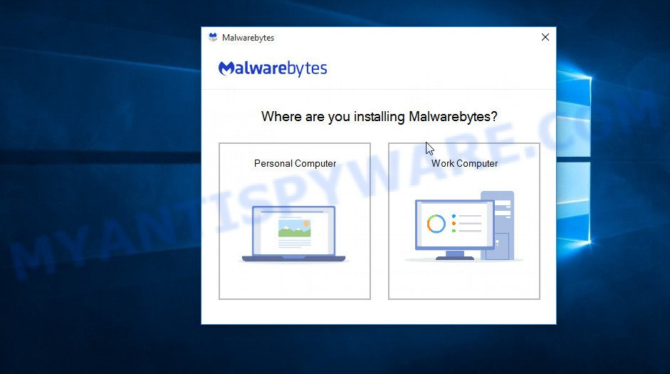 MalwareBytes Free for MS Windows set up wizard