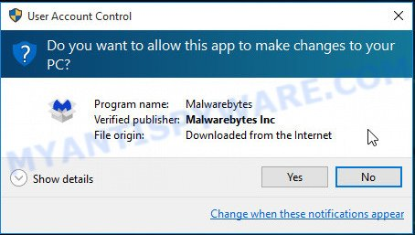 MalwareBytes Anti-Malware (MBAM) for MS Windows uac dialog box