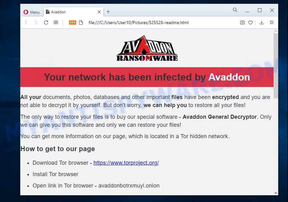 Avaddon ransomnote