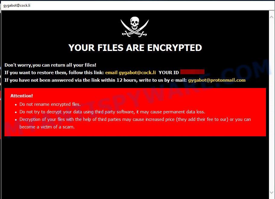 Gyga ransomware popup window