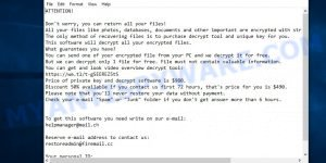 Restoreadmin@firemail.cc ransomware