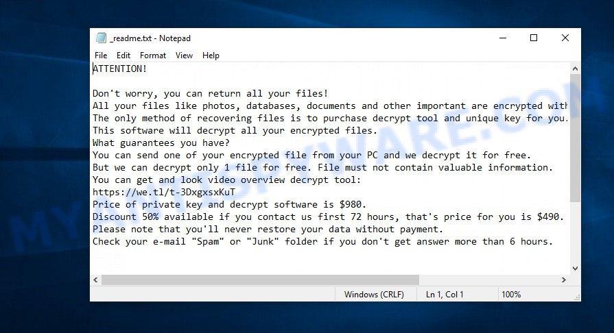 ransom demand message