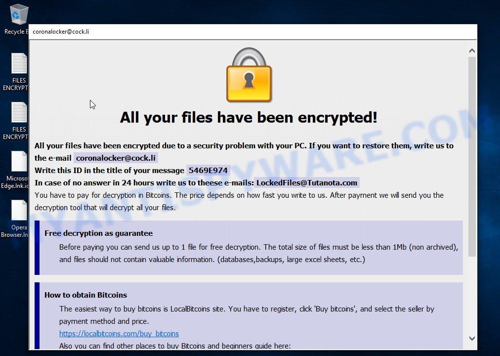 Harma ransomware popup window