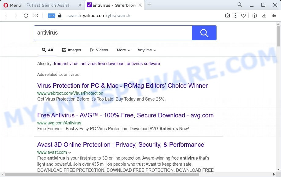 Fast Search Assist ads