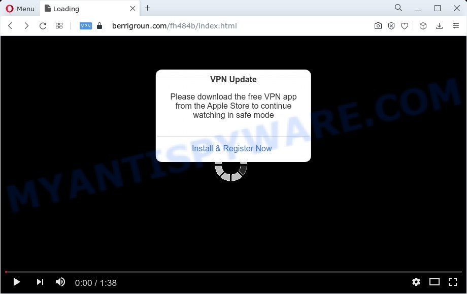 VPN Update popup scam