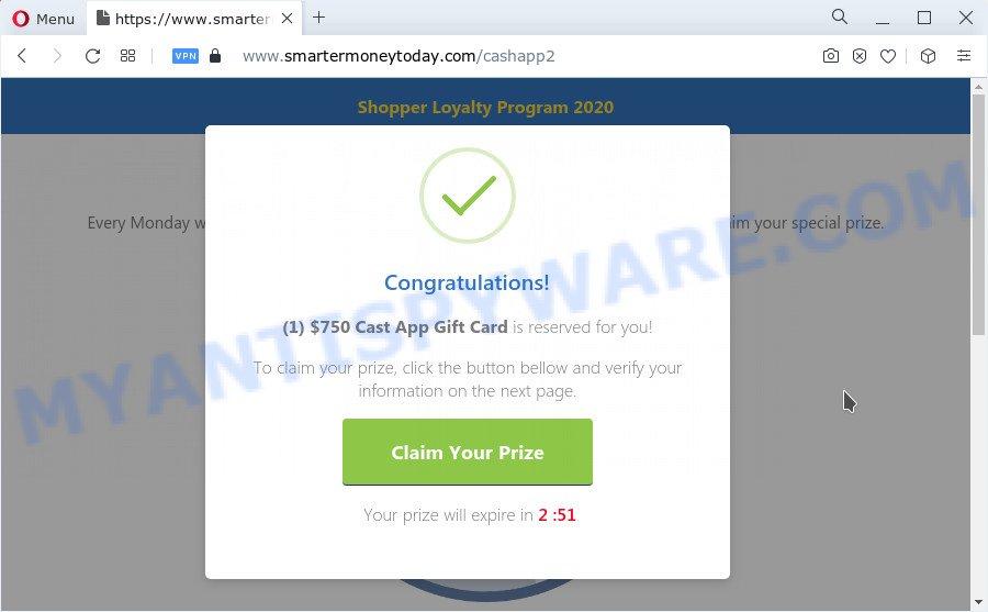 Congratulations Cash App shopper pop-up
