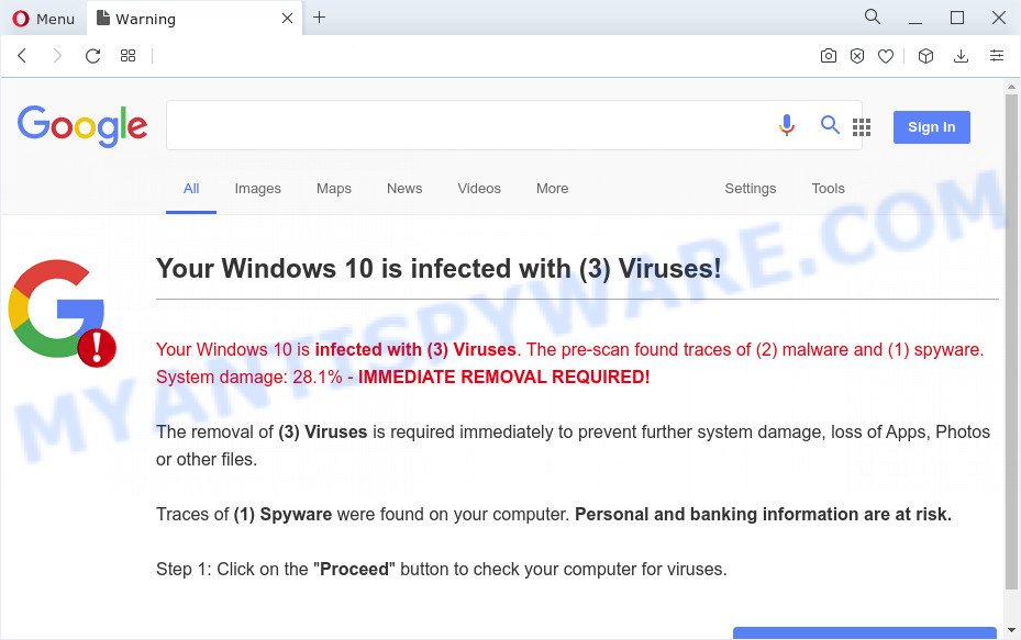 Your Windows 10 is infected with (3) Viruses!