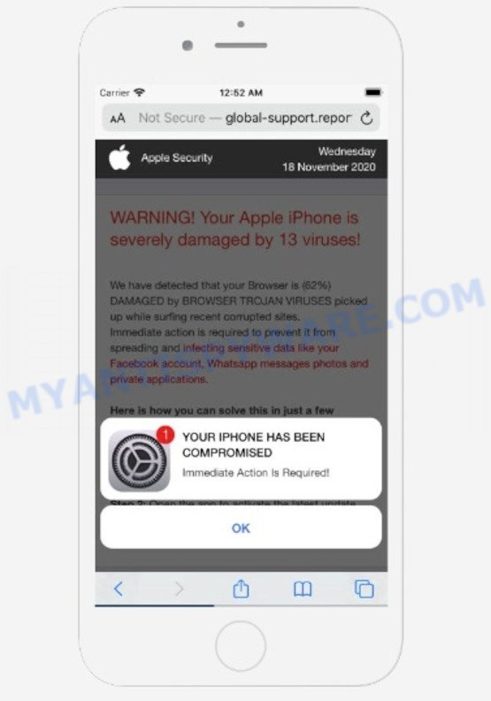Your Apple iPhone is severely damaged Scam