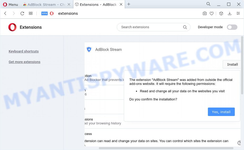 AdBlock Stream browser extension
