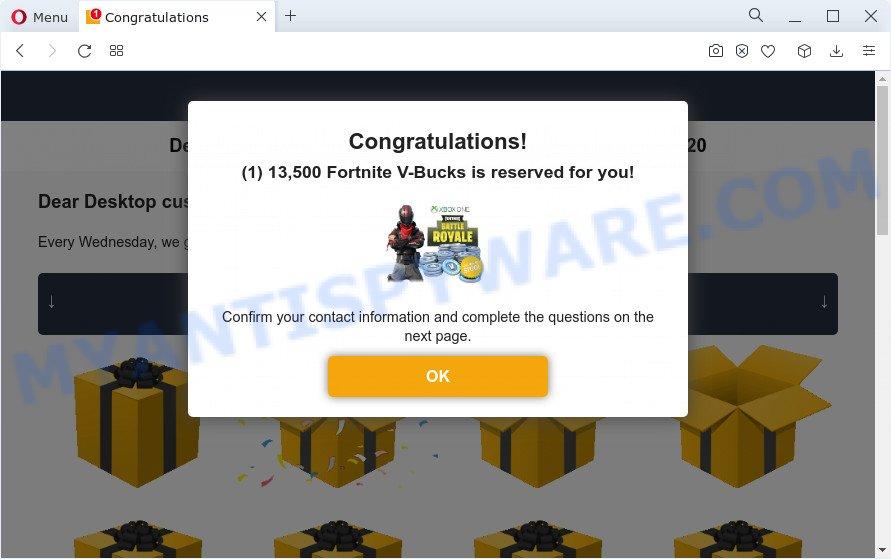 Desktop Promotional Contest pop-up scam