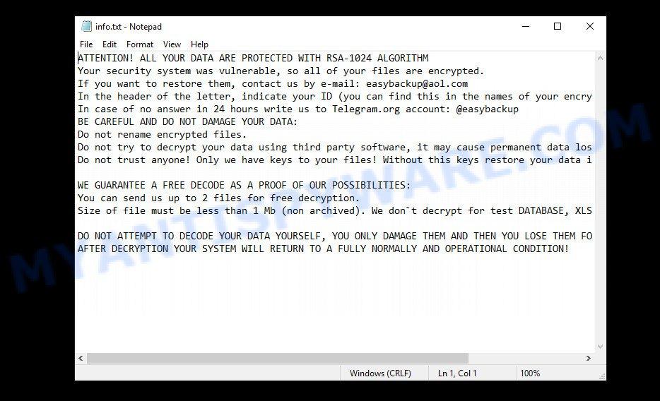 Easy ransomware - info.txt