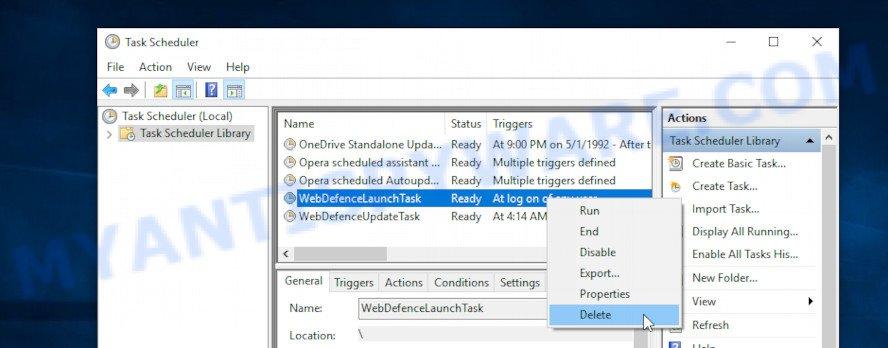delete WebDefence task