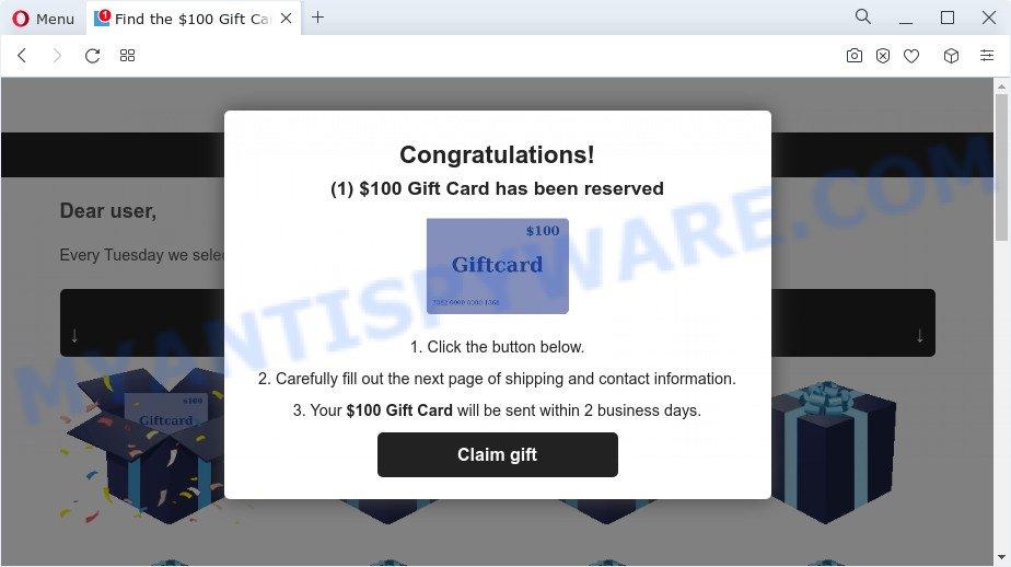 $100 Gift Card pop-ups