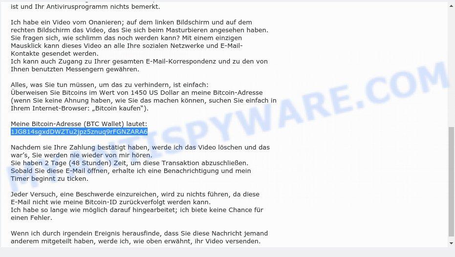 1JG814sgxdDWZTu2jpz5znuq9rFGNZARA6 Bitcoin Email Scam