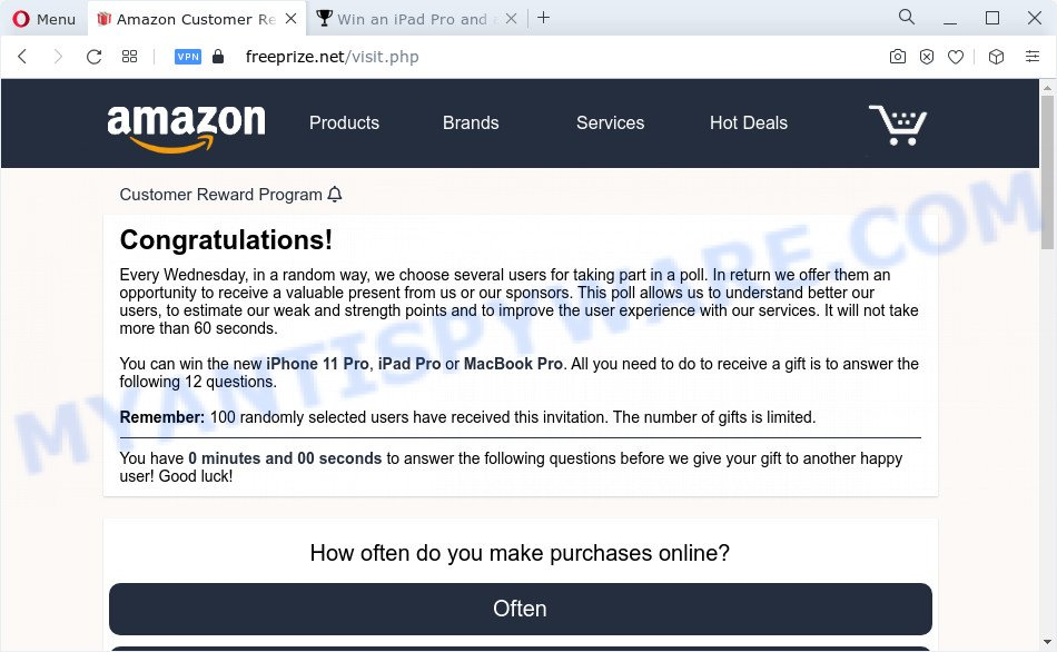 $500 Amazon Gift Card pop-up scam
