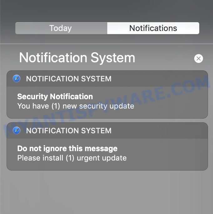SYSTEM NOTIFICATION pop-up scam