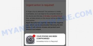 Urgent action is required A Trojan virus is detected