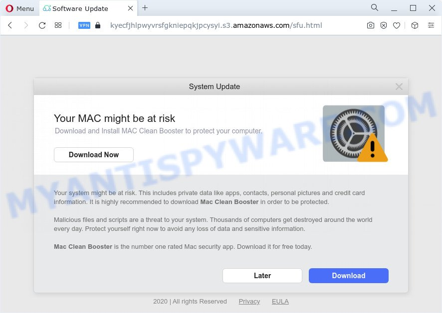 Your MAC might be at risk pop-up scam