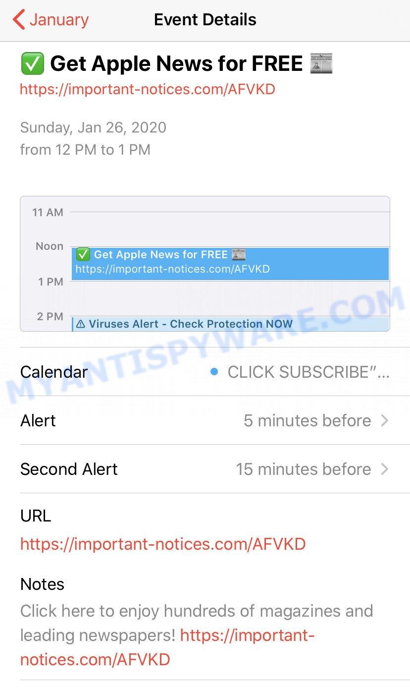 Iphone Calendar - spam event