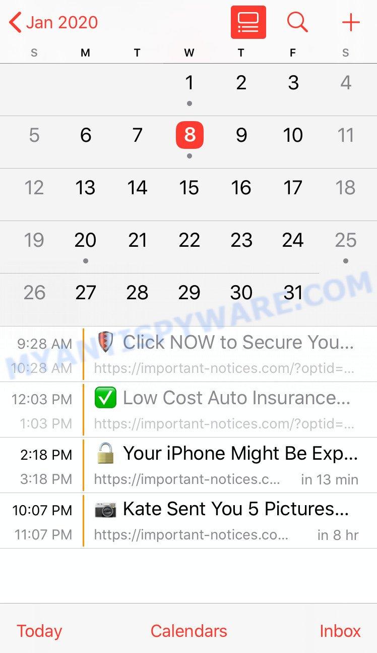 Iphone Calendar spam - example 1