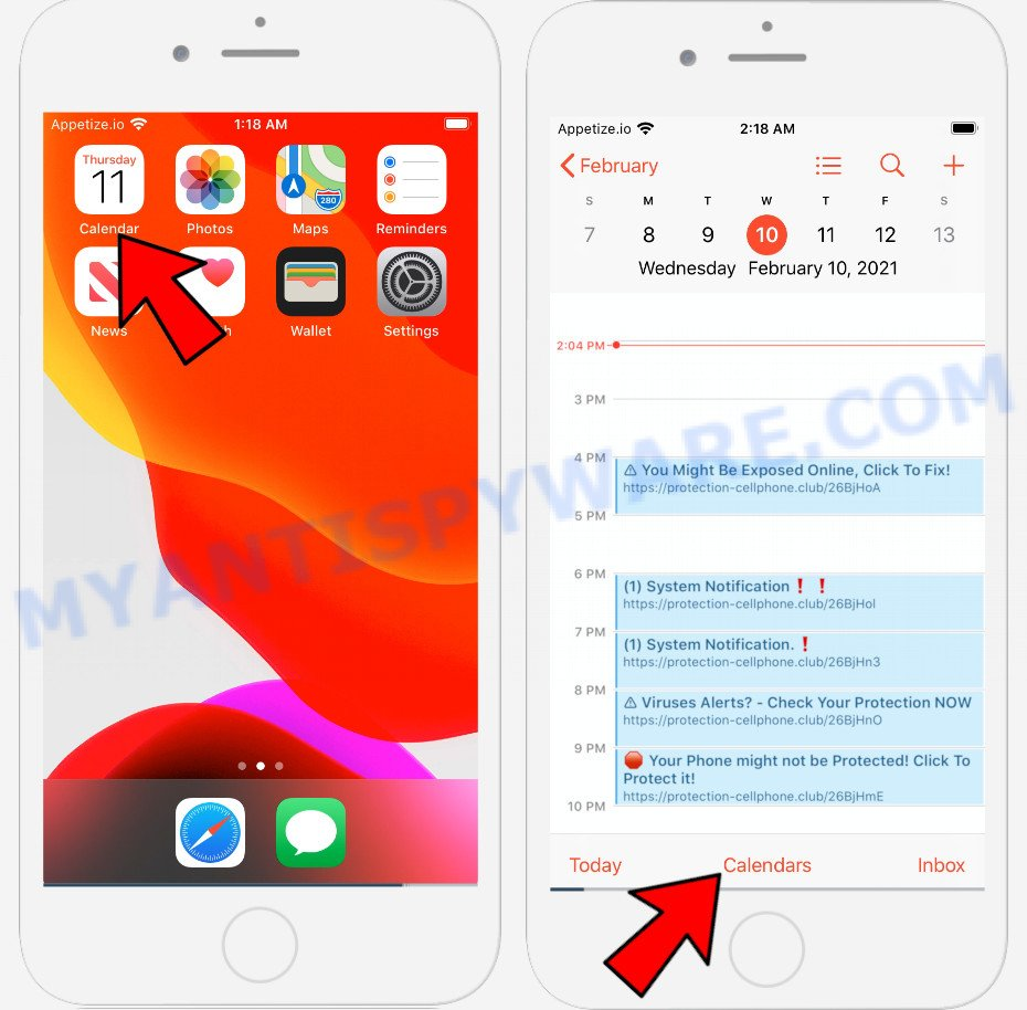 Iphone Calendar virus removal 1