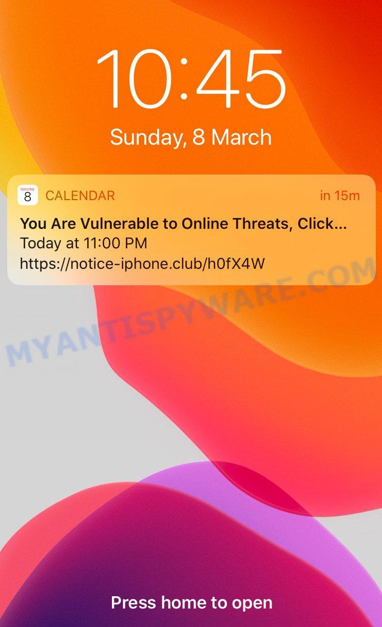 Iphone Calendar virus spam
