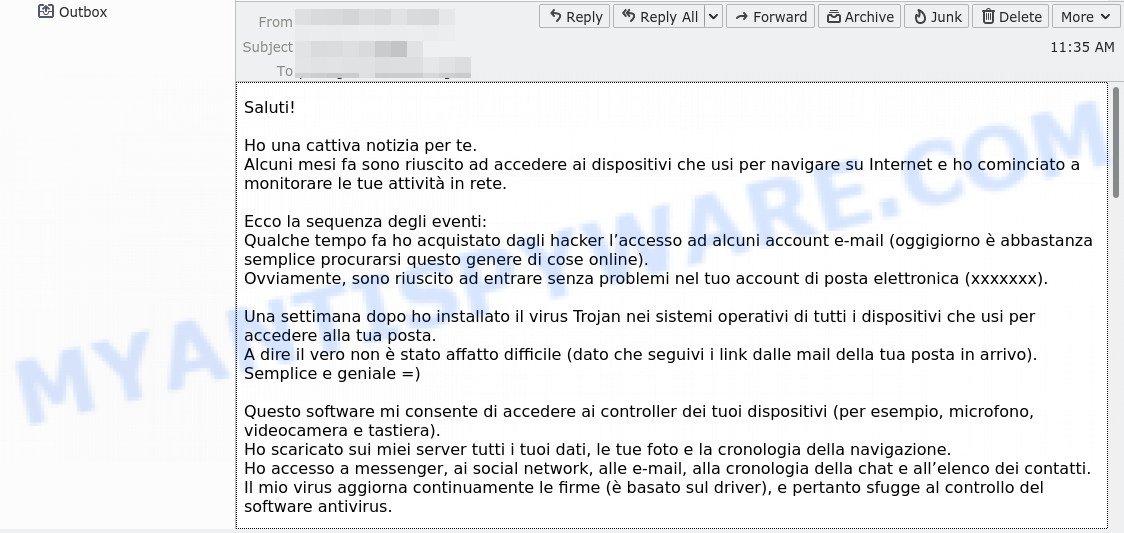 Ho una cattiva notizia per te email scam