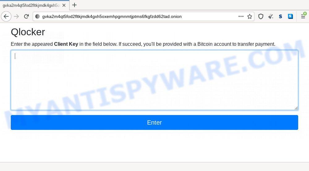 Qlocker ransomware site