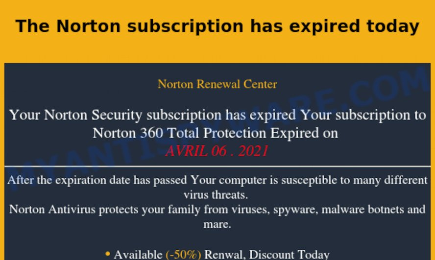 The Norton subscription has expired today EMAIL SCAM